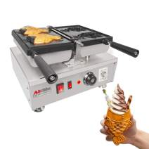ALDKitchen Taiyaki Iron | Electric Taiyaki Machine | Fish Shaped Waffle Cones | Stainless Steel Professional | Nonstick Coating | 110V (Open Mouth x 2)