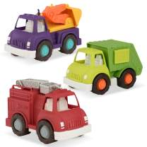 Wonder Wheels by Battat – Fire Truck, Recycling Truck, Excavator Truck – Combo of Recycling, Excavator, & Fire Truck Toys for Toddlers Age 1 & Up (3 Pc) – 100% Recyclable
