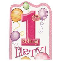 Pink 1st Birthday Invitations, 8ct