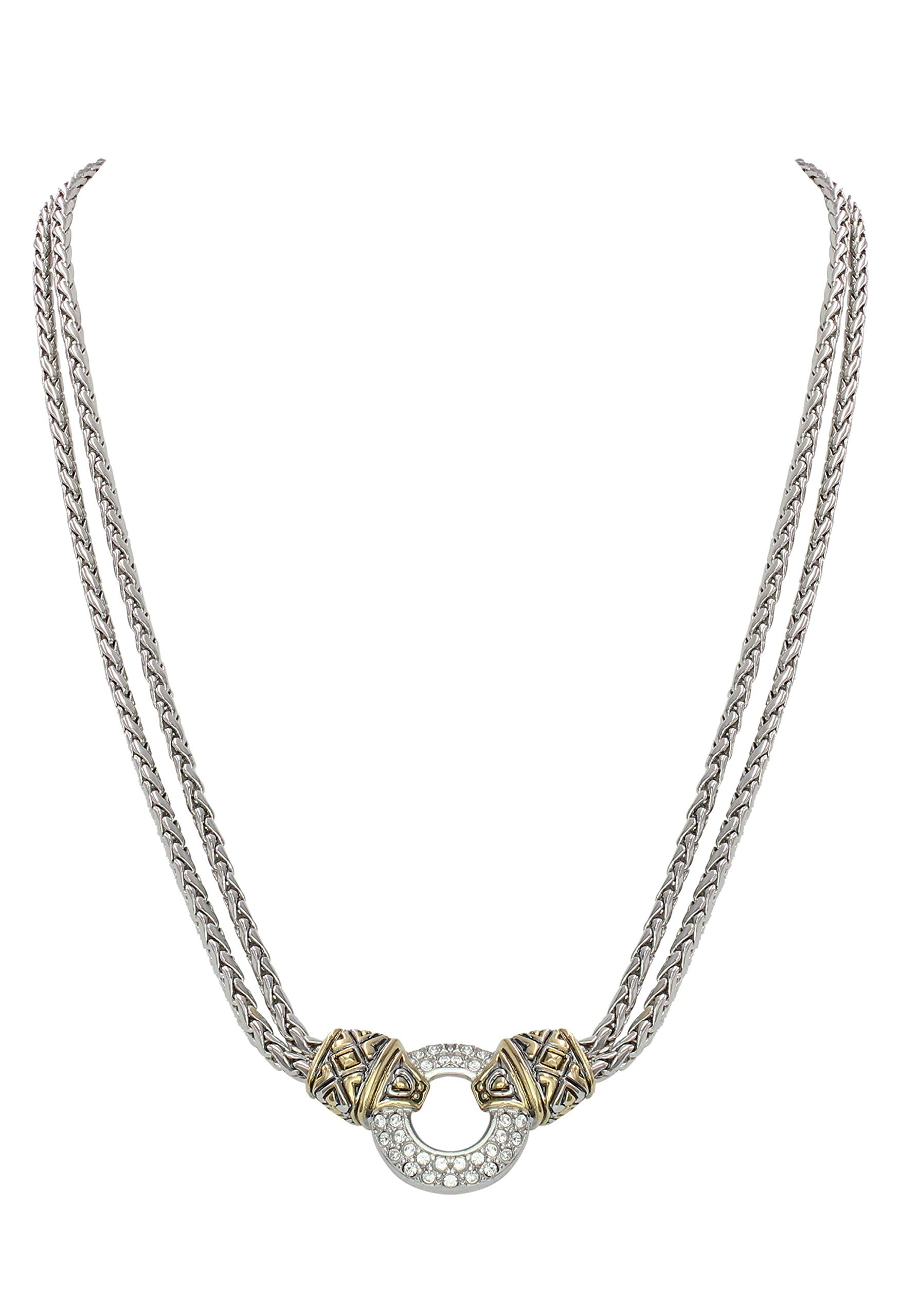 """John Medeiros Pavè Setting Cubic-Zirconia Circle Double Strand Gold and Silver Tone Necklace 16"""" Inner Diameter Made in The USA"""