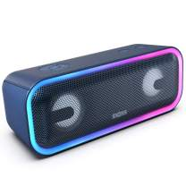 DOSS SoundBox Pro+ Wireless Bluetooth Speaker with 24W Impressive Sound, Booming Bass, Wireless Stereo Pairing, Mixed Colors Lights, IPX5 Waterproof, 15 Hrs Battery Life, 66 ft Bluetooth Range - Blue