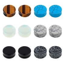 TOPBRIGHT 6 Pairs Natural Stone Ear Plugs Ear Gauges Saddle Expander for Ear