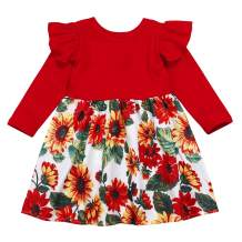 Toddler Infant Baby Girl Clothes Ruffle Sleeveless Summer Princess Boho Floral Sunflower Skirt with Headband Dress Set