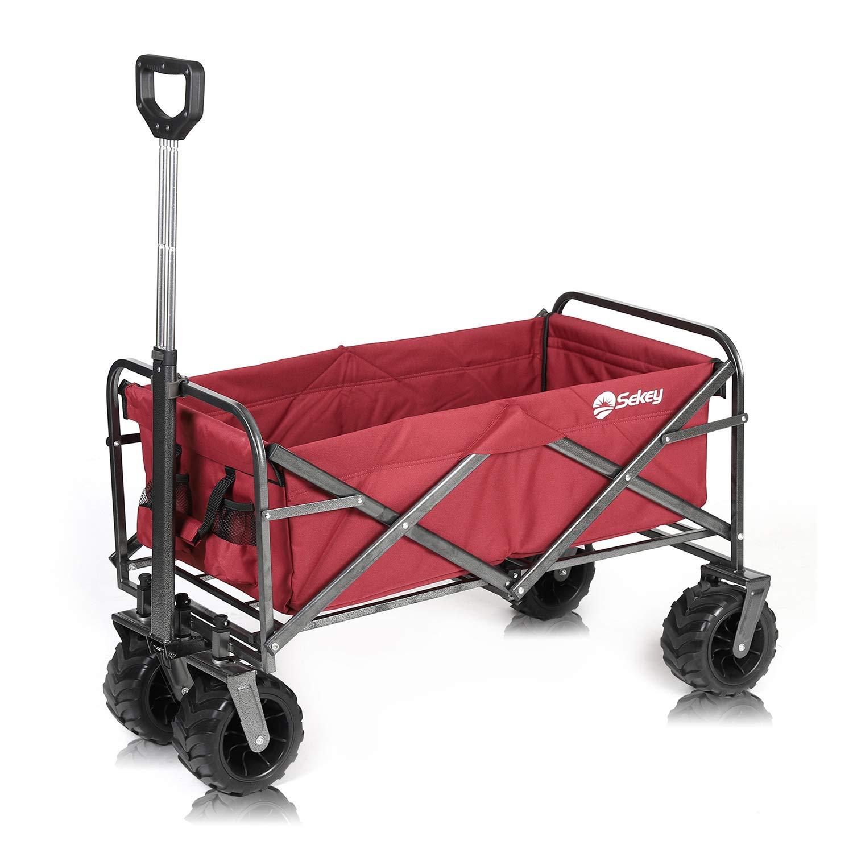 Sekey Folding Wagon Cart Collapsible Outdoor Utility Wagon Garden Shopping Cart Beach Wagon with All-Terrain Wheels, 176 Pound Capacity, Red