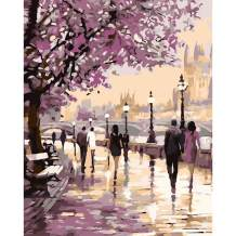 """Various Streetscape Series Paint by Numbers for Adults Kids Beginners Easy Acrylic on Canvas 16""""x20""""with Paints and Brushes, Cherry Blossom Street(Without Frame)"""