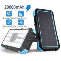 Solar Charger Power Bank 20000mAh, Qi Wireless Charger PD/QC Solar Power Bank External Battery Pack 30 LED Flightlights 3 Modes, Input/Outputs: Micro USB, Type C, 3 USB Ports 5V for Outdoor Camping