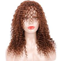 Colorful Bird 100% Human Hair Curly Wig with Long Bangs Kinky Curly Human Hair Wig Fluffy Wave Wig 150% Density Brown Curly Wig 18 inches