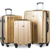 Merax 3 Piece P.E.T Luggage Set with TSA Lock Eco-friendly Light Weight Spinner Suitcase(Light Sunbeam Glow)