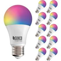 Sunco Lighting 10 Pack WiFi LED Smart Bulb, A19, 6W, Color Changing (RGB & CCT), Dimmable, 480 LM, Compatible with Amazon Alexa & Google Assistant - No Hub Required
