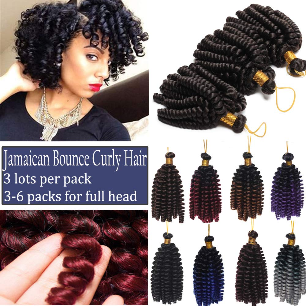 Jamaican Bounce Crochet Hair Braids Ombre Synthetic Hair Curly Jumpy Wand Spring Curl Braiding Hairpiece Ombre Twist 3 Bundles 2 Tones Black to Light Brown
