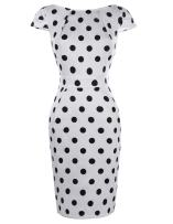 Belle Poque Women's 50s V-Back Polka Dots Pencil Dress with Pockets