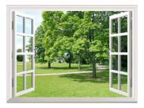 """wall26 Removable Wall Sticker/Wall Mural - Park with Green Trees   Creative Window View Wall Decor - 24""""x32"""""""