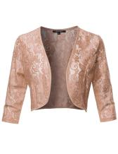Women's 3/4 Sleeve Floral See-Through Lace Shrug Bolero Cardigan Top - Made in USA