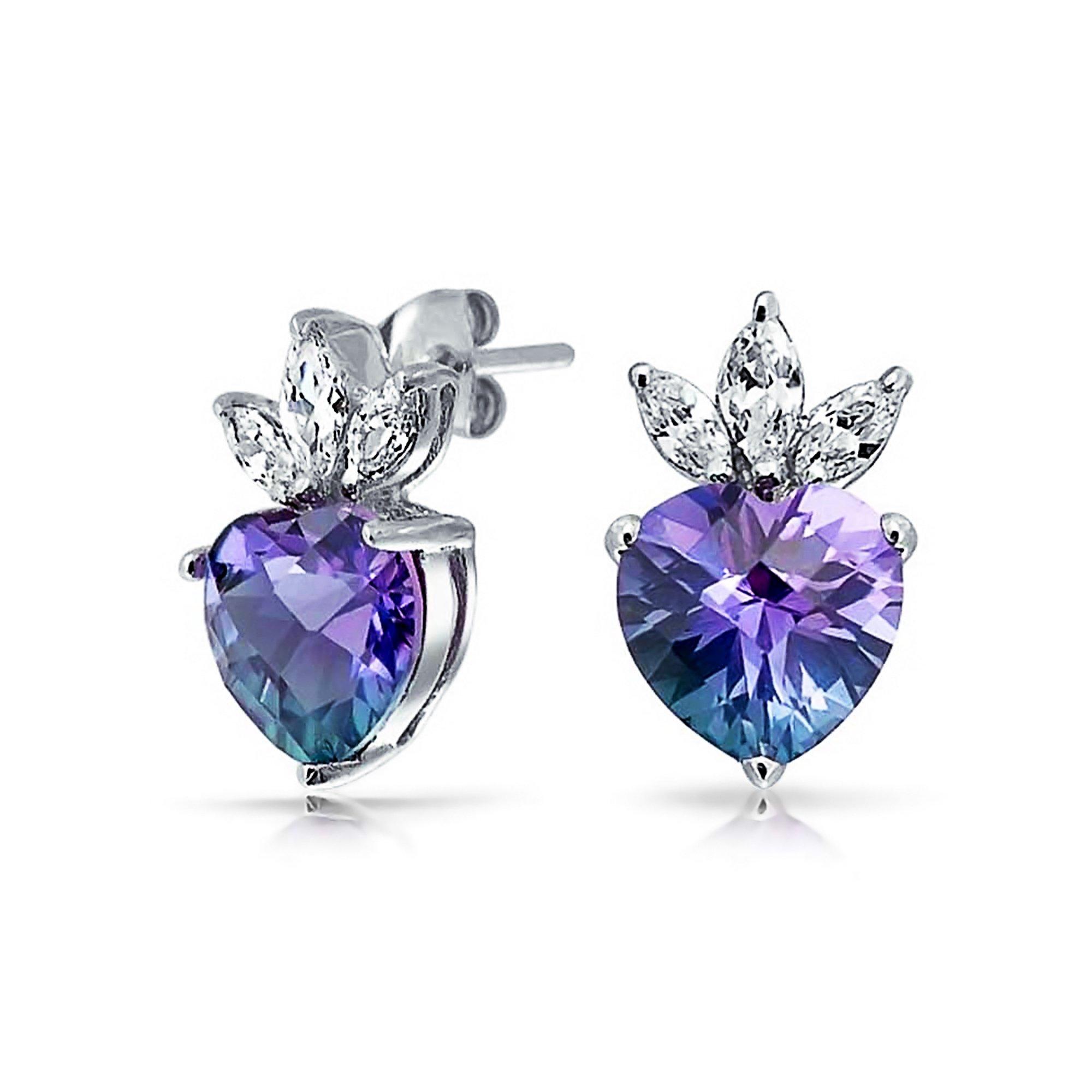 Heart Shape Crown Blue Purple Rainbow Cubic Zirconia CZ Stud Earrings For Women 925 Sterling Silver