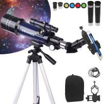 YOLIYOQU Telescopes,Astronomy Telescopes for Adults and Kids Beginners, 70mm Aperture 400mm AZ Mount Astronomical Refracting Telescope,Astronomy Refractor with Tripod, Phone Adapter, Backpack