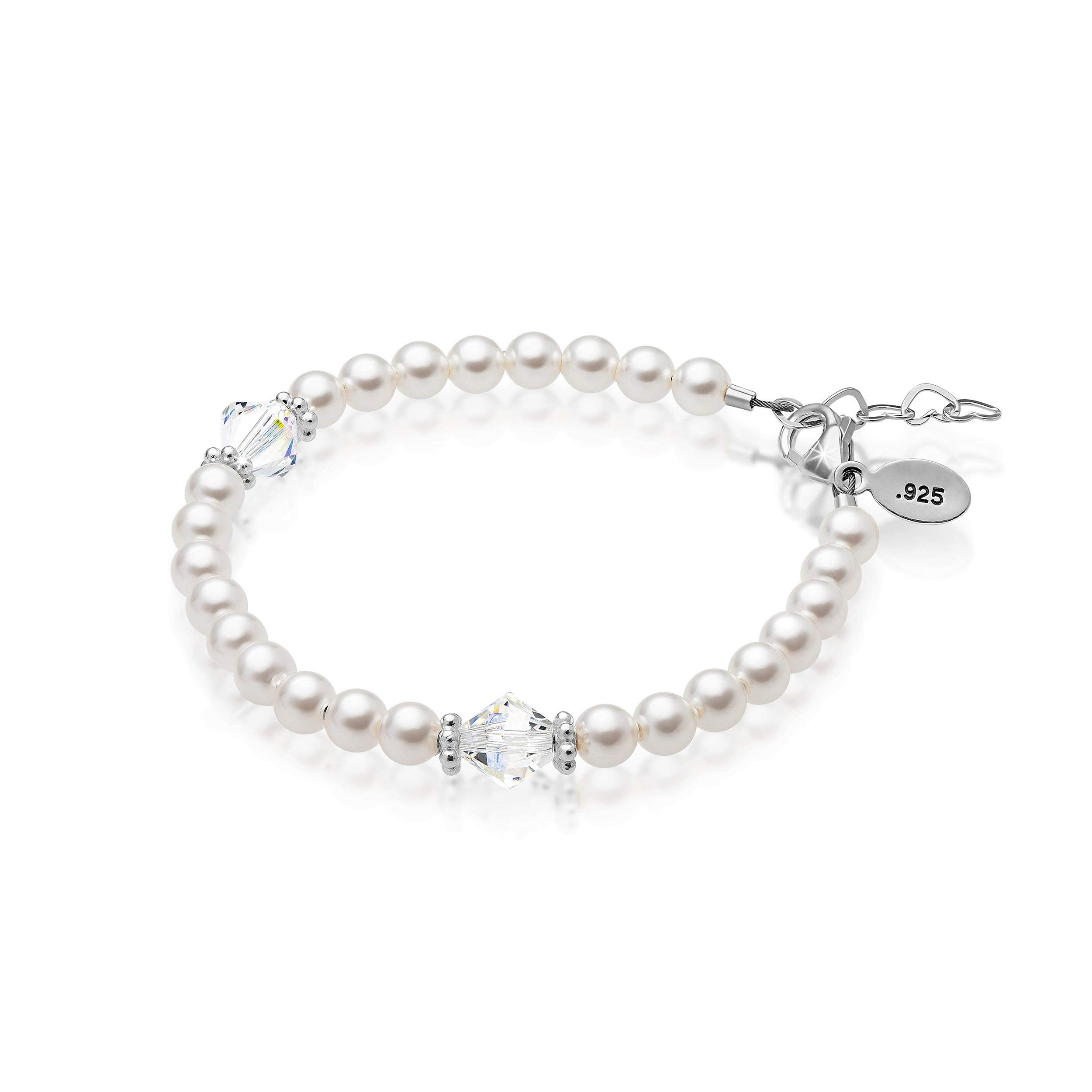 Baby Crystals Baby Jewelry for Infant Girls- Charm Bracelets for Girls-Baby keepsake Gifts -Adjustable Bracelets embellished with Pearls and Crystals from Swarovski (0-3 Months)