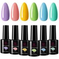 Makartt Pastel Gel Nail Polish Set, 6 Spring Summer Colors Pink Blue Gels 10 ML UV Gel Nail Kit 6 Bottles Soak Off Gel Macaron Colors P-17