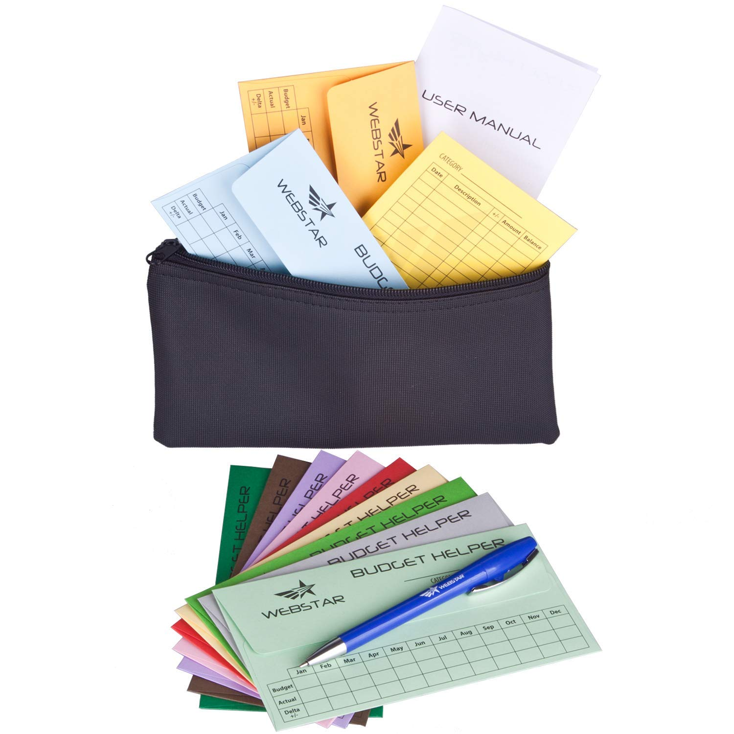 Webstar Cash Envelopes Budget System - Budget Helper 12 Pack Different Colors, Bonus Money Wallet and Pen, Tear & Water Resistant, Can Be Used As Bills Coupon Receipt Coin Holder Planner Organizer