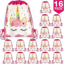 POKONBOY 16 Pack Unicorn Drawstring Party Bag, Unicorn Party Favors Bags Drawstring Bags Gifts Bags Birthday Party Supplies Favor Bag for Kids Children Girls Christmas