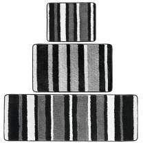 mDesign Soft Microfiber Polyester Spa Rugs for Bathroom Vanity, Tub/Shower - Water Absorbent, Machine Washable - Plush Non-Slip Rectangular Accent Rug Mat - Striped Design, Set of 3 Sizes - Black/Gray