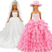 BARWA White Wedding Dress with Veil and Pink Princess Evening Party Clothes Wears Gown Dress Outfit with Hat for 11.5 Inch Girl Doll