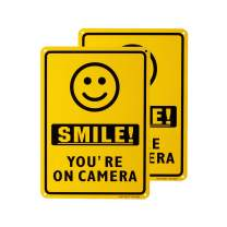 METERIO Smile You're On Camera Video Surveillance Sign 2 Pack, UV Protected and Waterproof, Indoor Or Outdoor Use for Home Business CCTV Security Camera, 10×10""