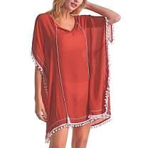 Eicolorte Women's Swimsuit Cover ups Bathing Suit Tassel Kaftan Beach Dress for Swimwear