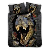 BIGCARJOB Dinosaur Print Bedding Cover Kids Boys Bedroom Dormroom Bed Duvet Cover Sets Black Lining Twin Size 68x88inches
