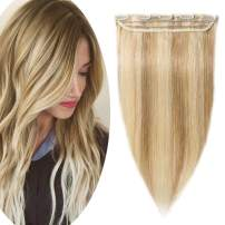 "100% Real Human Hair Extensions Clip in Remy Hair 16"" Thin 45g One-piece 5 Clips Long Straight Hair Extensions for Women Wide Weft Soft Silky Highlight #18P613 Ash Blonde Mix Bleach Blonde"