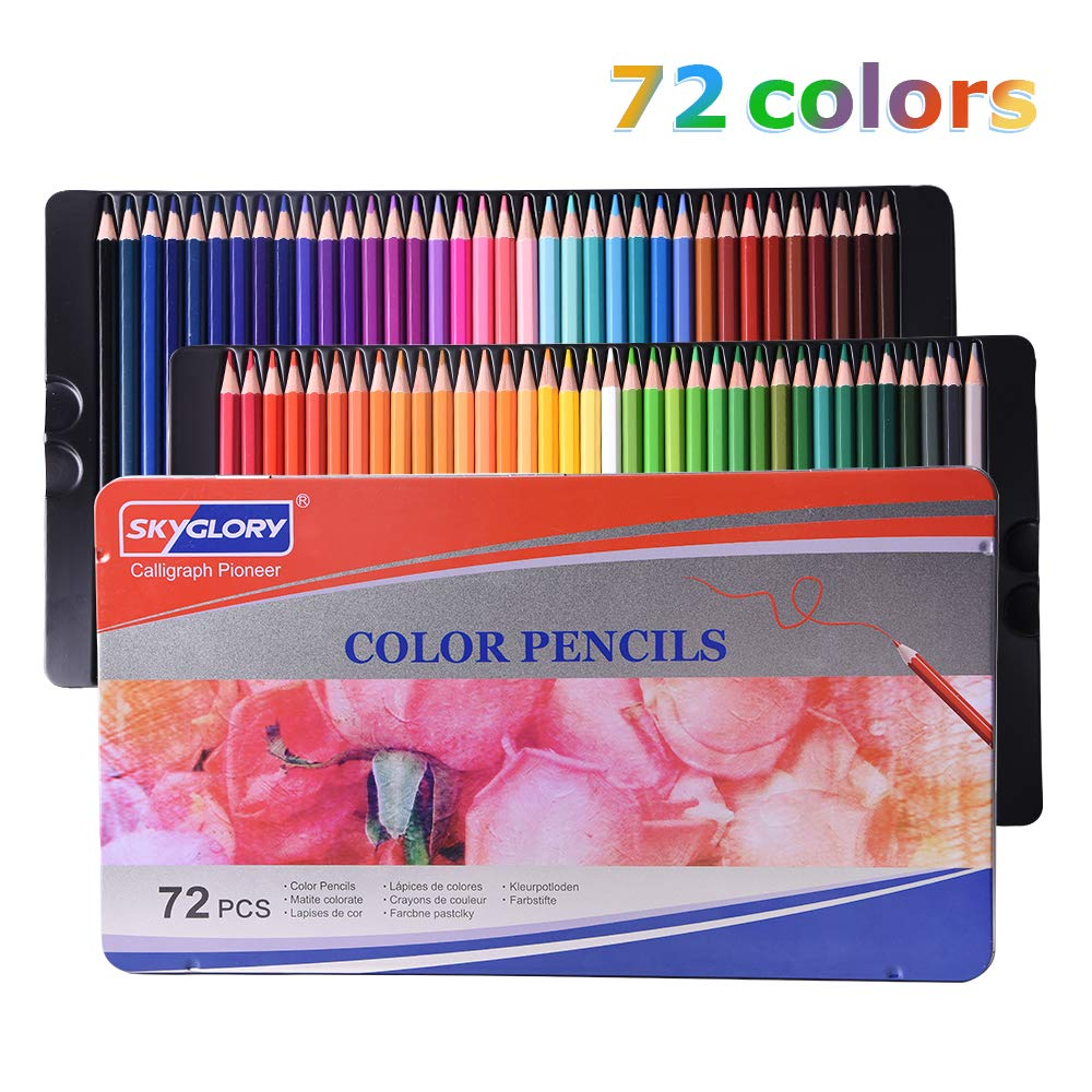 LOBKIN Colored Pencils,Professional Soft, ThickCore Pencils for a Smooth Color Vibrant Artist Pencils for Beginners & Pro Artists with Metal Box (Set of 72)