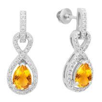 Dazzlingrock Collection 10K 7X5 MM Each Pear Gemstone & Round Diamond Infinity Swirl Teardrop Dangling Drop Earrings, White Gold