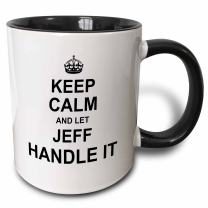3dRose 233285_4 Keep Calm And Let Jeff Handle It - Funny Personal Name Ceramic Mug, 11 oz, Black/White