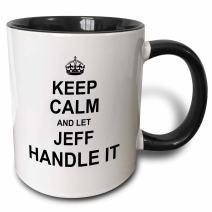3dRose 233285_4 Keep Calm And Let Jeff Handle It - Funny Personal Name Ceramic Mug, 11 oz, Black/White
