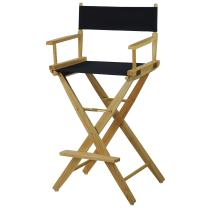 """American Trails Extra-Wide Premium 30"""" Director's Chair Natural Frame with Navy Canvas, Bar Height"""