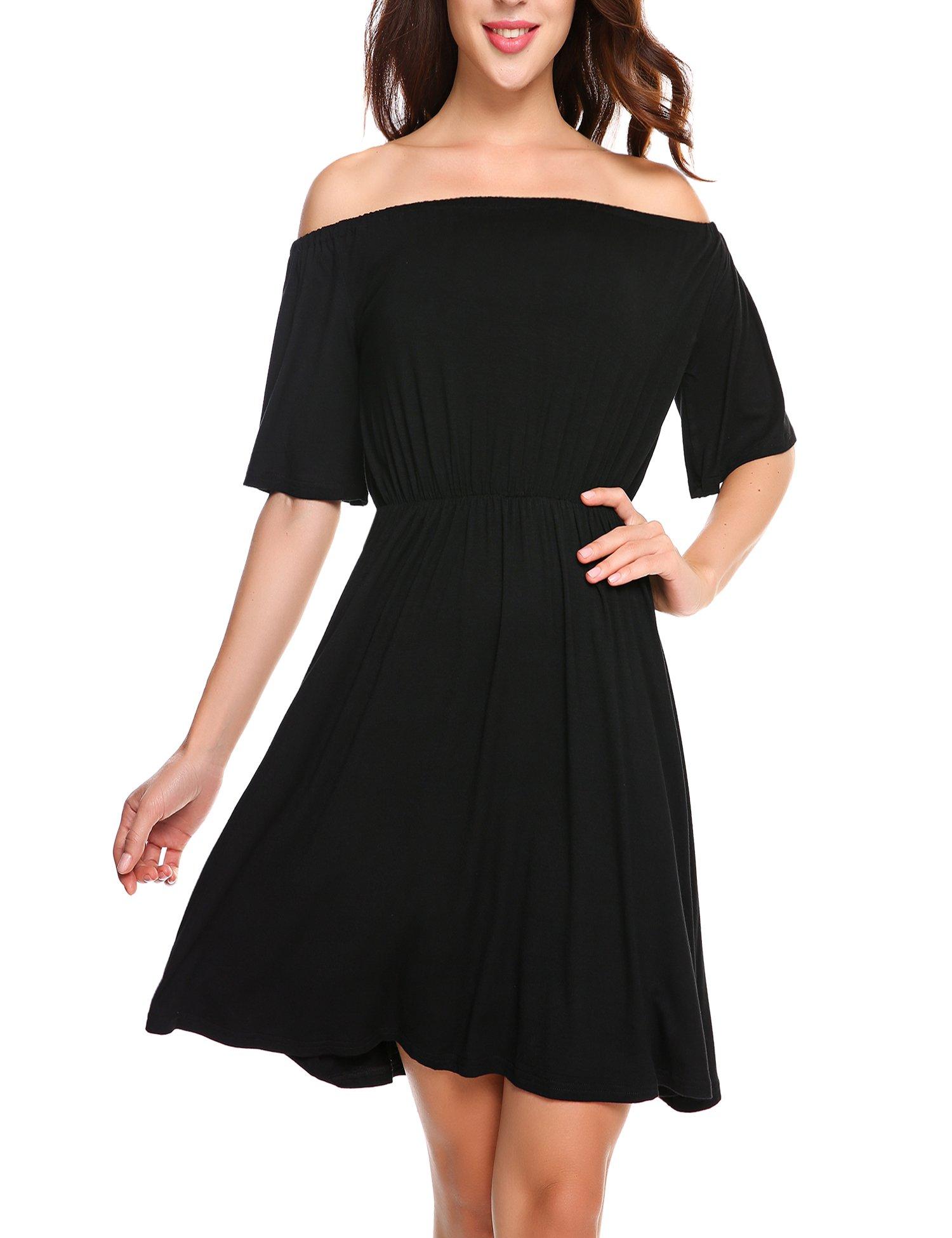 Finejo Women's Sexy Cold Shoulder Half Sleeve Bodycon Club Midi Dress