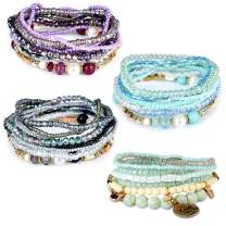 Adramata Bohemian Stackable Bead Bracelets for Women Girls Stretch Multilayered Bracelet Set