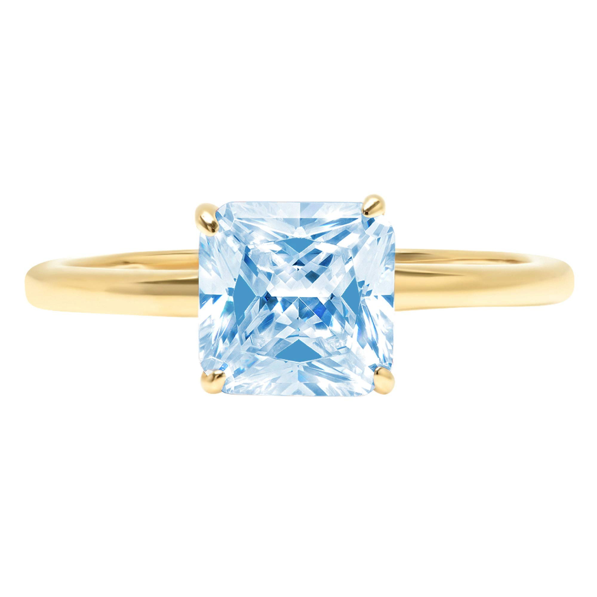 2.45ct Brilliant Asscher Cut Solitaire Aquamarine Blue Simulated Diamond CZ Ideal VVS1 D 4-Prong Classic Designer Statement Ring Solid Real 14k Yellow Gold for Women