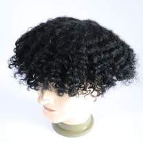 Lumeng Toupee for Men Afro Kinky Curly Skin PU Human Hair Wigs Human Hair 360 Wave Toupee hair system 1# jet black None Lace Full Wig for Men (8X10)