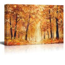 wall26 Canvas Wall Art - Abstract Yellow Oil Painting Style Trees in Forest - Giclee Print Gallery Wrap Modern Home Decor Ready to Hang - 24x36 inches