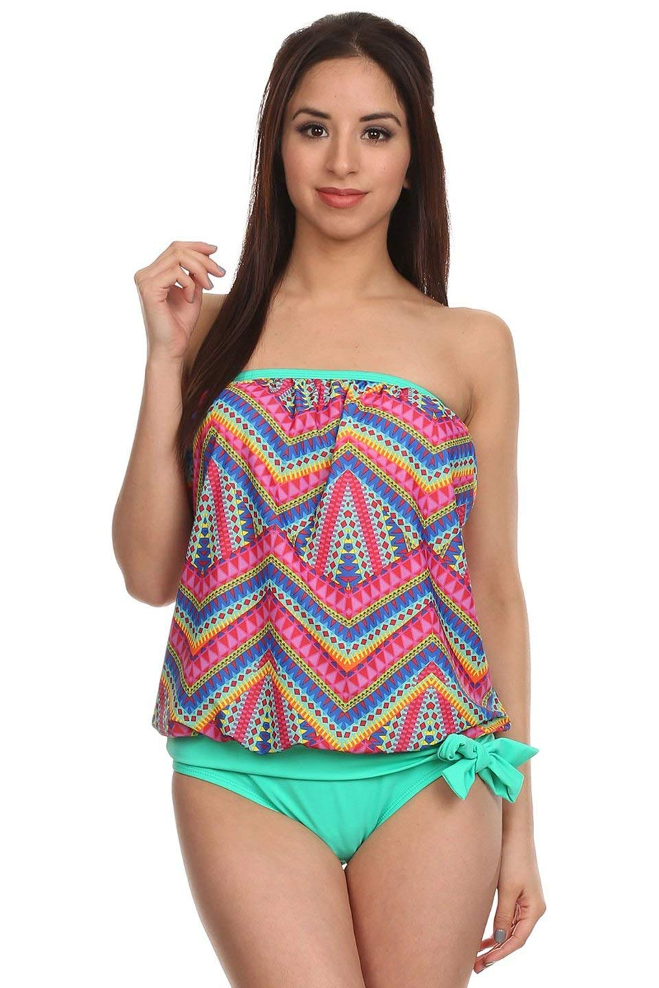 Dippin' Daisy's Womens Strapless Bandeau Blouson Tankini with Bottoms