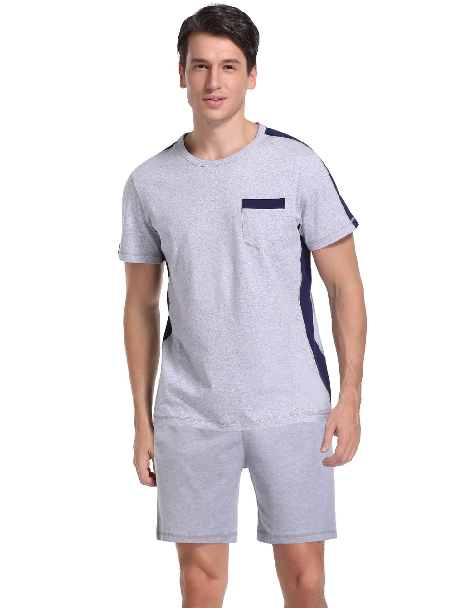 Hawiton Men's Cotton Short Sleeve Contrast Tops and Shorts Pajamas Set Crew Neck Lounge