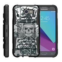 TurtleArmor   Compatible with Samsung Galaxy J3 Emerge Case   J3 (2017) [Hyper Shock] Armor Rugged Hybrid Kickstand Impact Holster Belt Clip - Joker Skull