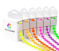 ChromaLabel Fluorescent Color-Code Dot Label Kit, Inventory Control Labels, 6 Assorted Colors, 1000/Dispenser Box, 1/2 inch
