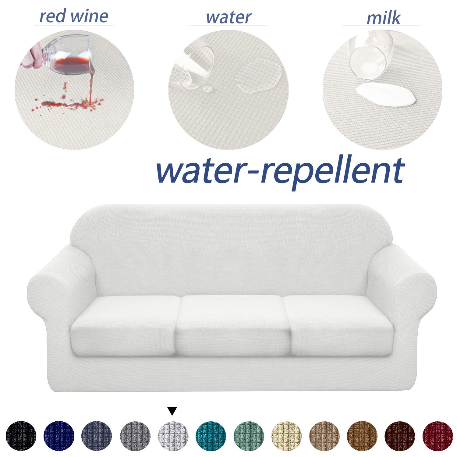 Granbest 4 Piece Premium Water-Repellent Sofa Slipcover for 3 Cushion Couch High Stretch Sofa Cover for 3 seat Sofa Super Soft Fabric Couch Cover for Dogs Pets Furniture Cover (Large, Creamy White)