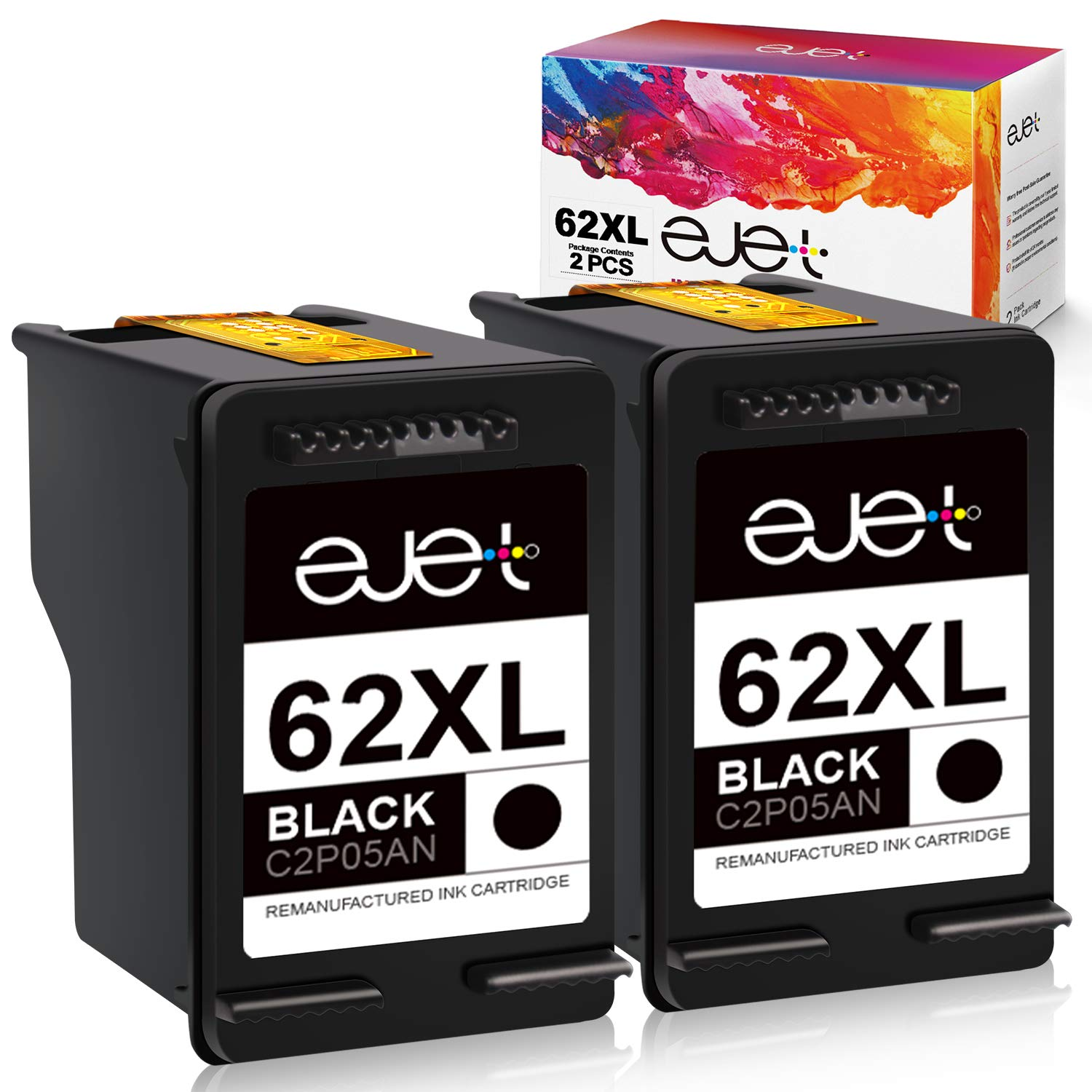 ejet Remanufactured Ink Cartridge Replacement for HP 62XL 62 XL to use with Envy 7640 5660 7645 5640 5642 5540 Officejet 5741 8040 5740 OfficeJet 250 200 Mobile Printer (2 Black)