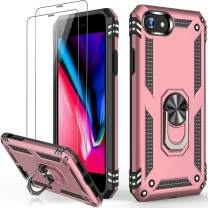 iPhone 8 Plus Case Rose Gold,iPhone 7 Plus Case with Glass Screen Protector,Military Grade 16ft. Drop Tested Protective Phone Case with Magnetic Car Mount Kickstand for iPhone 7 Plus/iPhone 8 Plus