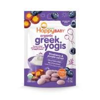 Happy Baby Organic Greek Yogis Freeze-Dried Greek Yogurt and Fruit Snacks, Blueberry/Purple Carrot, 1 Ounce (Pack of 8)