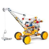 DIY Metal Model Building Kit Build and Play Toy Set STEM Learning Sets Erector Sets Kids Toys (Crane)