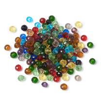 Craftdady 200Pcs 4mm Faceted Briollete Rondelle Glass Beads Crystal Spacer Loose Spacers Random Mixed Colors for Jewelry Making Hole: 1mm