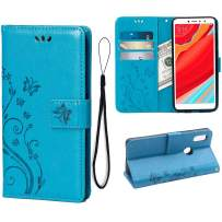 Wallet Case for Xiaomi Redmi S2/Redmi Y2, 3 Card Holder Embossed Butterfly Flower PU Leather Magnetic Flip Cover for Xiaomi Redmi S2/Redmi Y2(Blue)